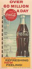 "Coca Cola 1960 Colorful Cardboard Blotter-""Over 60 Million A Day"""