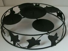 """Black Iron 13"""" Round Table Top Five Pillar Candle Holder"""