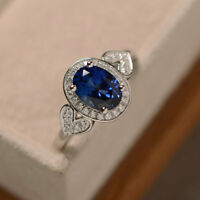 1.65 Ct Real Sapphire Diamond Engagement Ring Oval Cut 14K White Gold Size O P