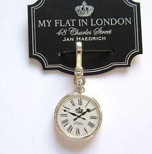 Brighton My flat In London LONDON TIME  charm-silver white clock Roman numerals