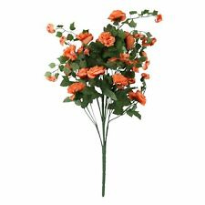 Extra Thick Large Rose and Blossom Bush Bouquet Bunch Artificial Flowers Silk Orange 160126008-2