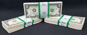 100 NEW TWO DOLLAR BILLS J A SERIES $2 NOTES KANSAS CITY FEDERAL RESERVE *3001
