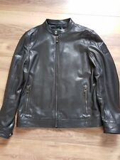BELSTAFF MENS BLACK LEATHER BOMBER JACKET SIZE 52