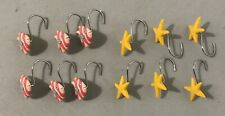 Shower Curtain Hooks Rings Set Of 12 Fish and Starfish Great Condition
