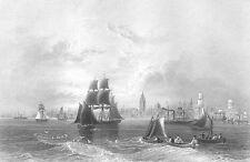 Liverpool MERSEY RIVER SAILBOATS SHIPS GALLEON FRIGATE, 1840 Art Print Engraving