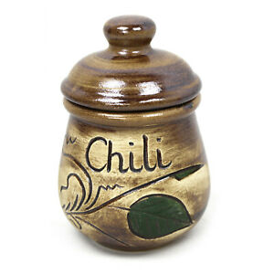 Chili-Topf 0,2 L Gewürzdose Behälter Dose Keramik Vorratstopf für Ihre Gewürze