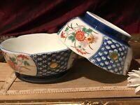 "2 Asian Porcelain Imari Floral Design Decorative Bowls 6""x2 1/2"" Marked"