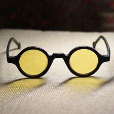 Retro round yellow polarized sunglasses black acetate frame yellow circle lenses