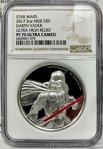 2017 Niue Star Wars Darth Vader Proof UHR 2 oz .999 Silver Coin - NGC PF 70 UCAM