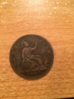 1860 Great Britain United Kingdom Penny one Cent Coin Victoria D:G