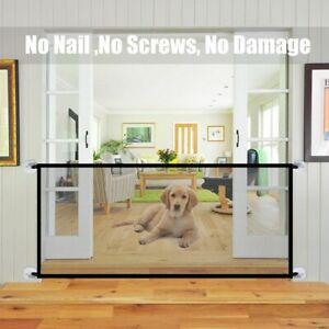Pet Safety Gate Retractable Dog Barrier Folding Home Doorway Stair Guard
