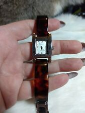 Style & Co Womens Silver Tone Watch With Faux Tortoise Shell Band