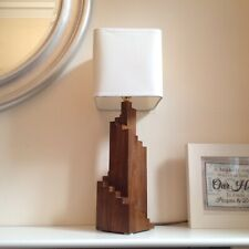 Hand-Made Walnut Wood Art Deco Spiral Table Lamp