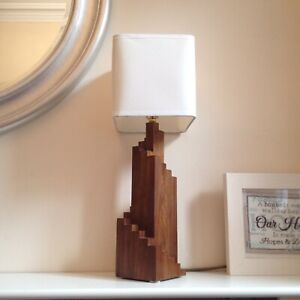 Hand-Made Walnut Wood Art Deco Spiral Table Lamp - BACK IN STOCK!