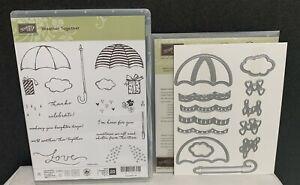 Stampin Up WEATHER TOGETHER Umbrella Shower Spring Framelits Rubber Stamps Lot