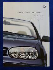 VW Golf IV Cabrio Classicline - Preisliste MJ 2002 - Prospekt 06.2001