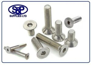 M4 (4MM 4mm) STAINLESS STEEL SOCKET COUNTERSUNK SCREW FROM 6MM UPTO 40MM LONG