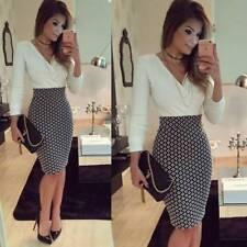 Womens Ladies Long Sleeve Slim Fit Midi Dresses Work OL Shirt Dress Size 12-20