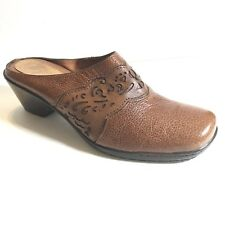"Nurture Womens Slip On Leather Shoes 7.5 M Clog Mules 2"" Heel (SB561)"