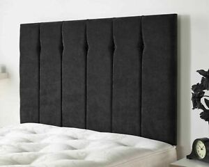 Luxury Upholstered Crushed Velvet Padded Vertical Panel Buttoned Bed Headboard