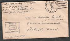 1943 WWII censor cover Pvt Joseph W Pary 652nd QM APO 600 Oran/533 Mateur