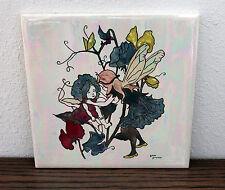 Beautiful Fairy Pixie Mod Signed Ceramic Art Pottery Tile Fantasy Nouveau VTG