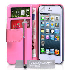Accessories For Apple iPhone 5 PU Leather Hot Pink Wallet Case Cover & Pen 5G