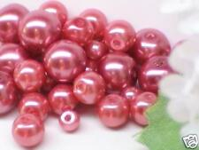 CRANBERRY RED GLASS PEARL BEADS, MIXED 4,6,8mm, 75pcs