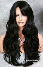 LONG Flirty Wavy Layered Jet Black Off center part w. bangs HSJO 1