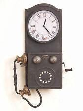 """Deko Wanduhr mit """"Telefon"""" Nostalgie-Look Uhr Wanddeko Antik-Stil Dekoration"""