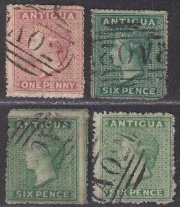 Antigua 1863-67 Queen Victoria wmk Small Star 1d, 6d Shades Used