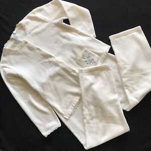 Women's Pajama Set JASMINE ROSE Fleece Top& Pants 55% Cotton Size S/P