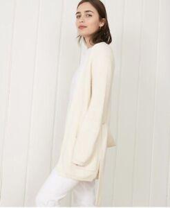 Jenni Kayne Cotton Fisherman Wrap Cardigan  Sweater, Ivory White, $345, XS