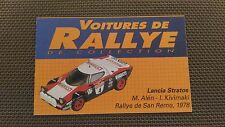 Certificat Voiture De Rallye De Collection « Lancia Stratos 2-2 »TBE.