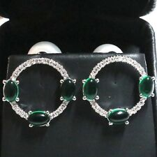 Round White Akoya Pearl Oval Emerald Earrings Women Wedding Engagement Jewelry