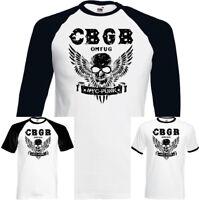 CBGB The Home Of Punk OMFUG Mens T-Shirt Underground NYC Club Skull Wings Biker