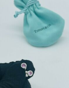 Tiffany & Co. Sterling Silver Elsa Peretti Color By The Yard Pink Sap. Earrings