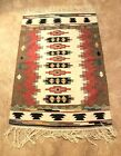 VINTAGE AUTHENTIC HAND WOVEN MULTI COLOR TAPESTRY HANGING WALL RUG- 65 X 45
