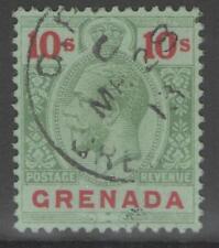 GRENADA SG101 1913 10/= GREEN & RED/GREEN USED SLIGHTLY FADED