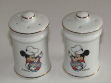 Walt Disney Co Japan Ceramic Cruet Mickey Mouse Chef Salt & Pepper pots Shakers