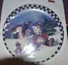 "New Seasons Christmas 8-1/4"" Plate by Laurie Korsgaden 2002 Bear & Snowman"