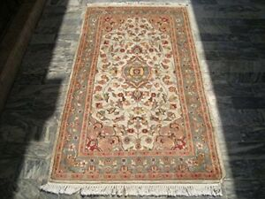 Classic Medallion Rectangle Area Rug Hand Knotted Wool Silk Carpet (5 x 3)'