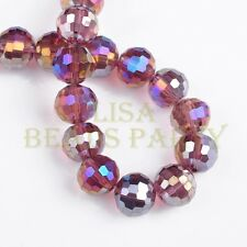 New 10pcs 10mm 96 Facets Round Loose Spacer Glass Beads Bulk Fuchsia AB