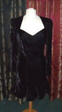 Vintage 80s Nadine Black Velvet Gothic Kick Pleat Wiggle Dress 8 -10
