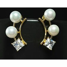 Pearl Cubic Zirconia 18Ct Yellow Gold Plated Stud Earrings UK