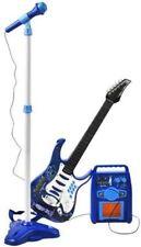 E-Gitarre Mikrofon Verstärker Stativ Kinder Rockgitarre SET Blau