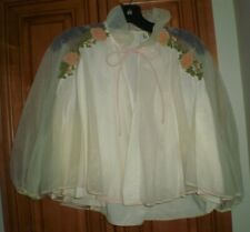 Eye-Ful Nylon cream colored with applique flowers bed jacket, very elegant, M