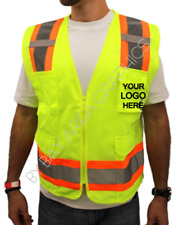 CUSTOM PRINTED HIGH VISIBILITY SAFETY VEST BLACK DESIGN CO-TEXT-NAME S-M-L-XL