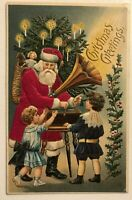 Silk SANTA CLAUS with~Victorian Children~Phonograph~1910 Christmas Postcard-s872