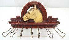 2A Souvenir Syroco Style Western Horse Head Shoe Belt & Tie Rack Vintage West!